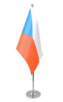 Czech Republic Desk / Table Flag with chrome stand and base